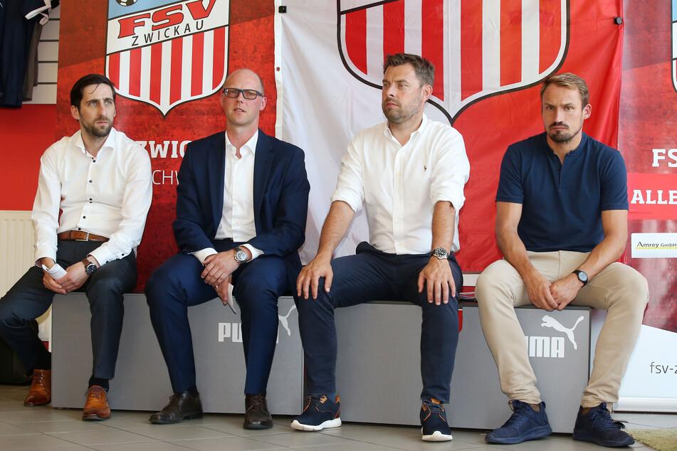 Machen auch mit ihrem FSV eine schwere Zeit durch: Geschäftsführer Christian Breier, Vorstandssprecher Tobias Leege, Marketingchef Matthias Krauß und Sportdirektor Toni Wachsmuth (v.l.).