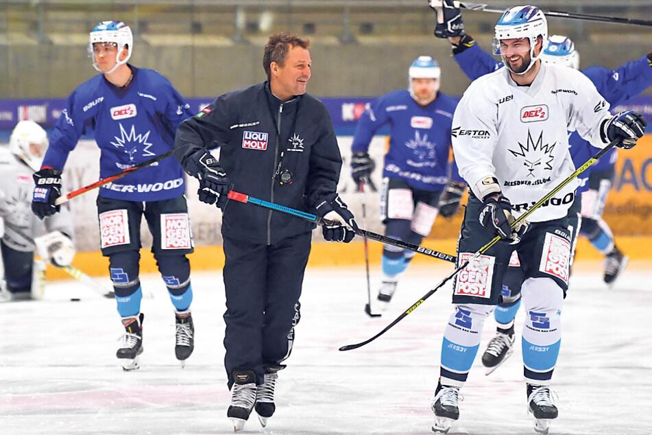 Eislöwen-Coach Andreas Brockmann (l.) und sein Kapitän haben keine Berührungsängste. Gemeinsam wollen sie die Mannschaft aus der Krise führen.