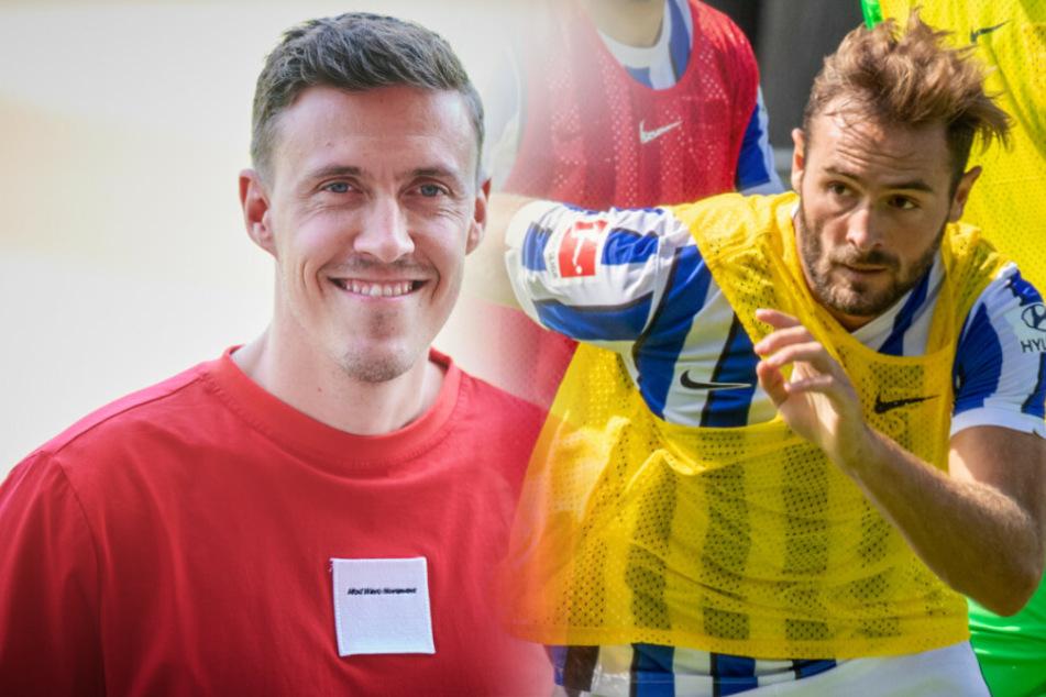 Die Königstransfers unter sich: Max Kruse (l) für Union und Lucas Tousart für Hertha BSC.