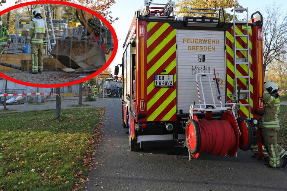Aufregung in Mickten: Bagger beschädigt Gasleitung, Feuerwehr im Einsatz