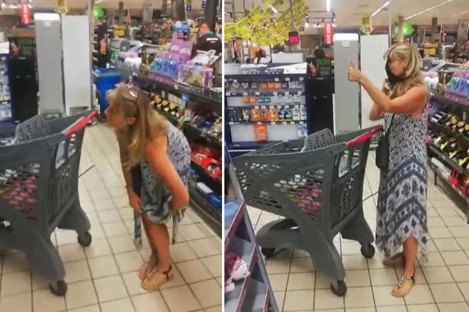 To appease the supermarket employees, this woman put on a very special face mask.