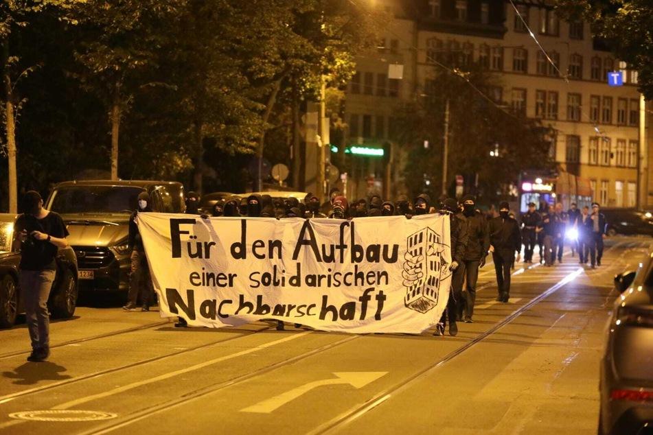 120 Demonstranten kamen am Mittwochabend spontan in Connewitz zusammen.