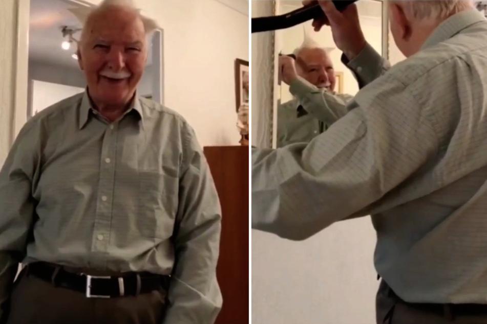 Opa macht sich mit Staubsauger die Haare, danach kommt er aus dem Kichern nicht mehr raus