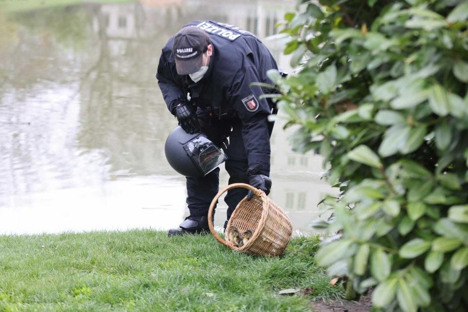 Am Teich ließen die Beamten die Kleinen dann im Beisein ihrer Mutter frei.