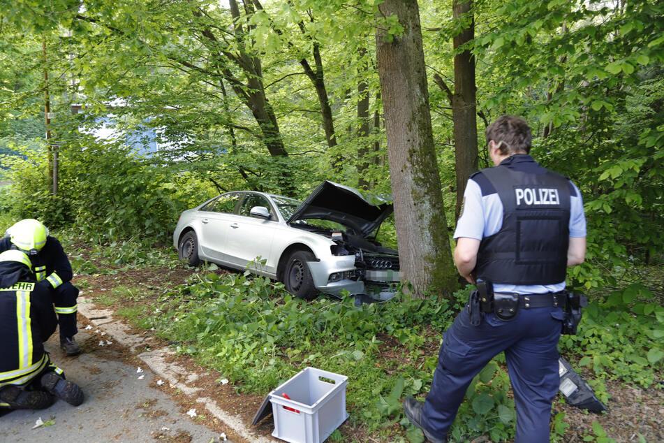 Der Audi knallte gegen einen Baum.