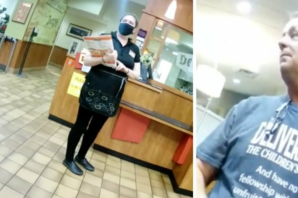 The waitress politely greeted the two guests, but they refused to wear a face mask.