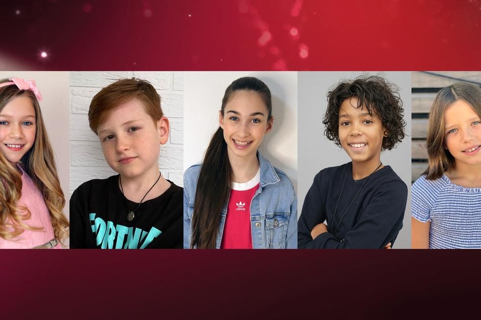 """Jona Szewczenko (10, v.l.), Maris Ohneck (8), Angelina Stecher-Williams (11), Spencer König und Zoe Baillieu (9) gehören zu den Kandidaten der RTL-Show """"Let's Dance – Kids""""."""