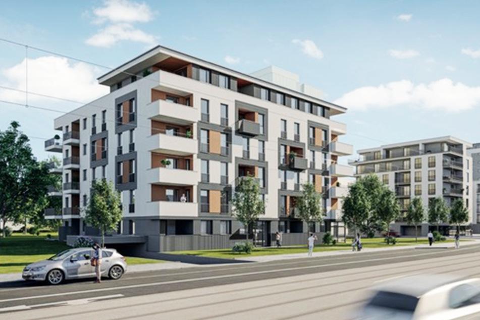 So soll das neue Wohnbauprojekt an der Freiberger Straße nach seiner Fertigstellung aussehen. (Illustration)