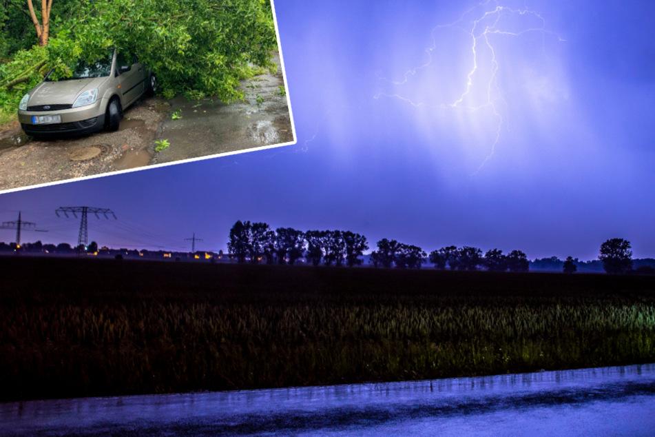 Unwetter: Schäden in Magdeburg, Gewitter über Leipzig
