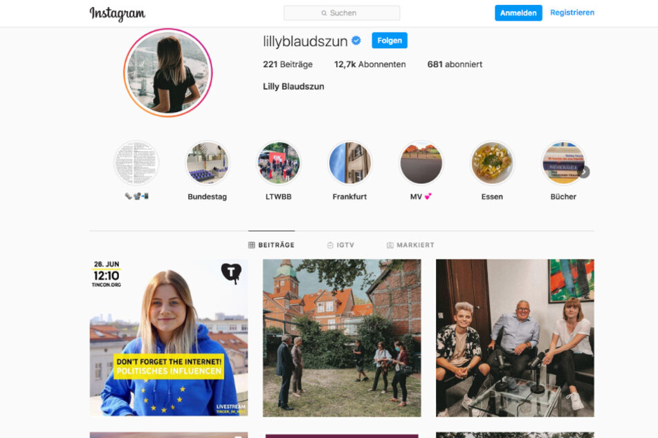 Auf ihrem Instagram-Profil teilt Lilly Blaudszun Persönliches und Parteipolisches.