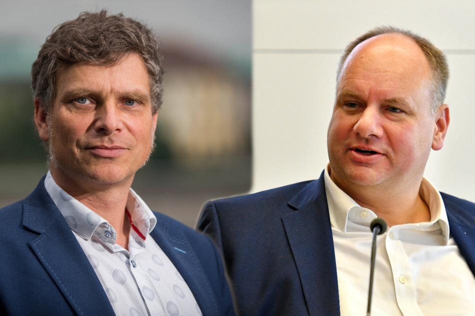 Nach Ansicht von Thomas Löser (48, Grüne, l.) kämpft Dresdens Oberbürgermeister Dirk Hein (49, FDP) zu wenig um das Blaue Wunder. (Bildmontage)