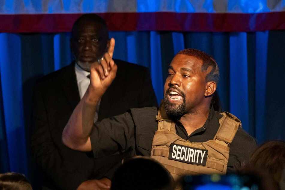 Kanye West at his first presidential campaign rally, in North Charleston, South Carolina, on July 19.
