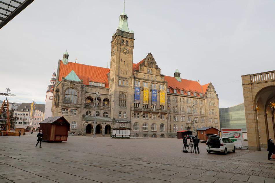 Die Chemnitzer Innenstadt war am Montagvormittag nahezu menschenleer.
