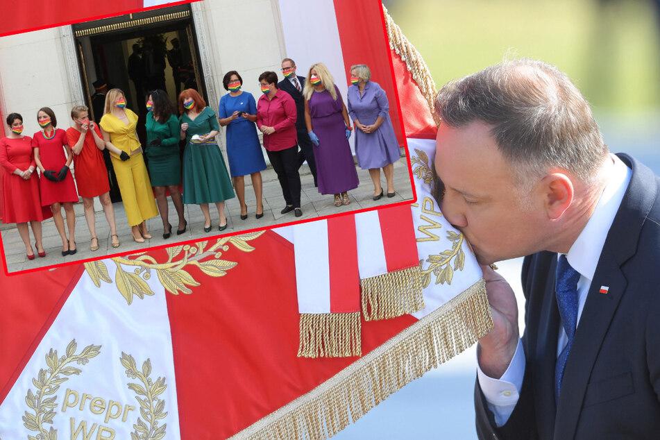 Polens Präsident glaubt: Regenbogenfahne an Jesus-Statue verletzt Gläubige