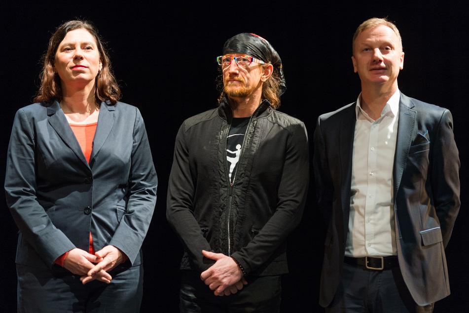 Berlins Bildungssenatorin Sandra Scheeres (v.l.), Gregor Seyffert, freigestellter Künstlerischer Leiter der Staatlichen Ballettschule Berlin und Ralf Stabel, ebenso freigestellter Geschäftsführender Leiter.