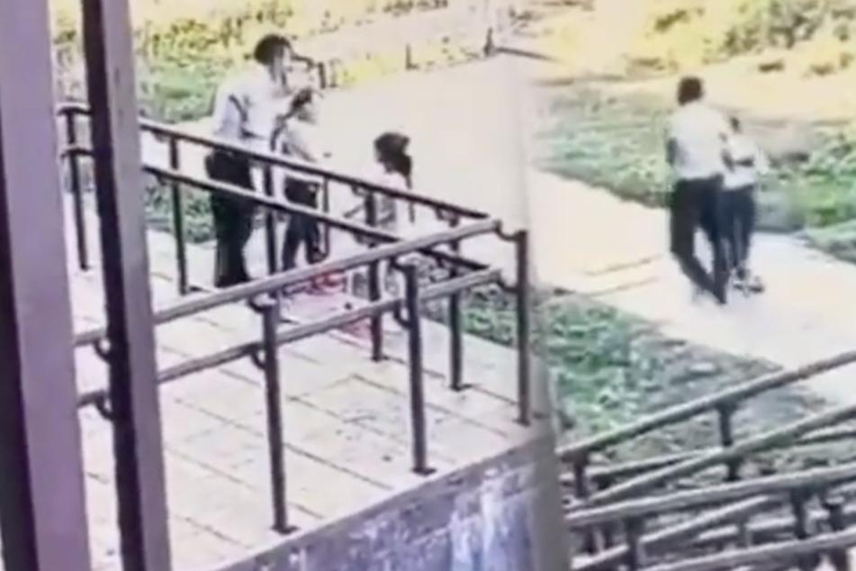In diesem Instagram-Video sieht man, wie der Mann versucht, das Mädchen mitzunehmen.
