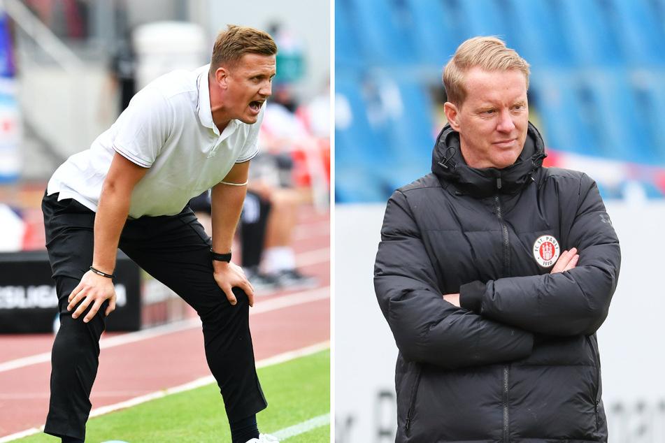 Trainer Aleksey Shpilevski (33, l.) empfängt mit dem FC Erzgebirge Aue am Sonntag den FC St. Pauli mit Coach Timo Schultz (43).