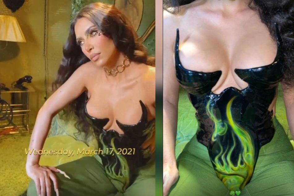 Mega-Dekolleté: In ihren Insta-Stories zeigte sich Kim Kardashian (40) für kurze Zeit ganz besonders sexy.