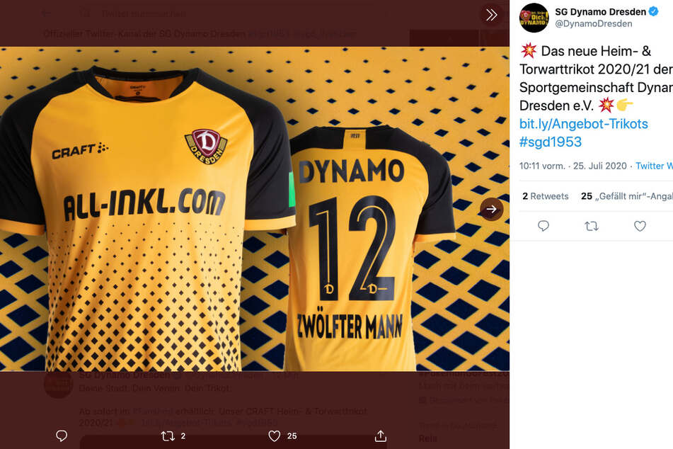 Das neue Dynamo-Trikot. Ein Hingucker in Schwarz und Gelb.