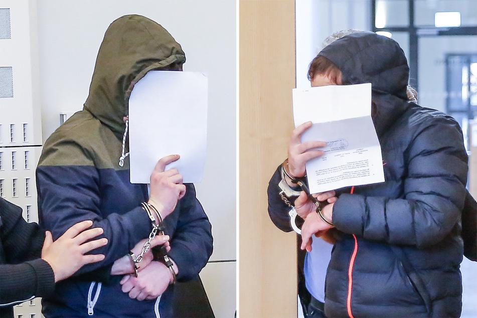 Emil A. (18, l.) und Dino S. (30) wurde 2019 in Dresden der Prozess gemacht.