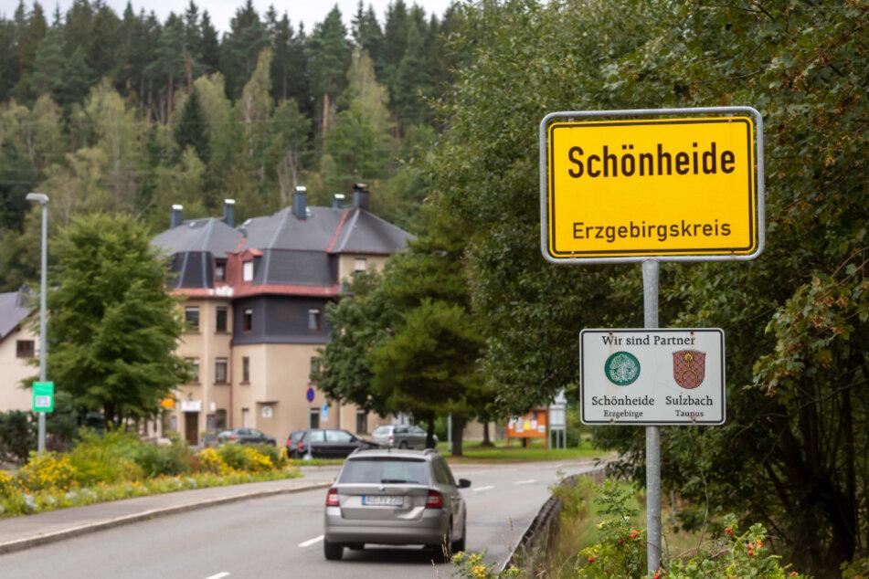 Der Ortseingang in Schönheide.