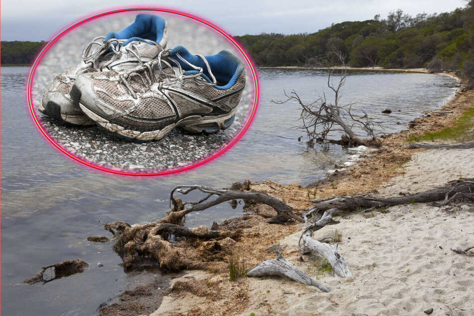 The shoe was discovered on a beach in Australia's Bournda National Park (collage, stock images).