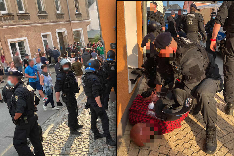 Am vergangenen Montag war es bei einer Versammlung von Gegnern der Corona-Maßnahmen zu Angriffen auf die Polizei gekommen. (Bildmontage)