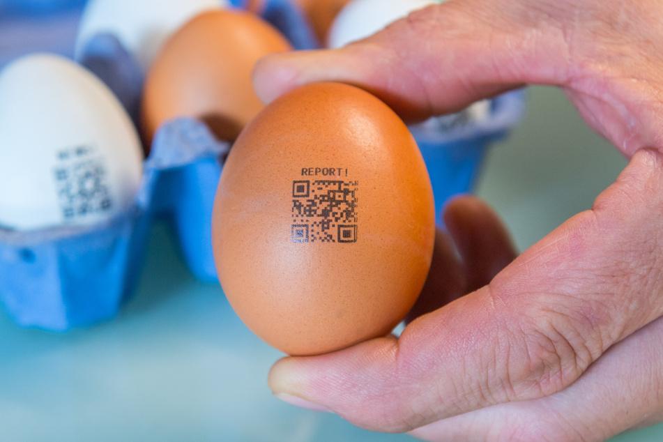 Die herkömmlichen Eier werden mit QR-Codes bedruckt, hinter denen sich Werbebotschaften verbergen.