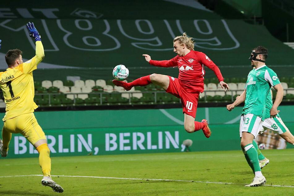 Emil Forsberg erzielte das dritte Jokertor des Abends und hievte die Sachsen ins Pokalfinale.