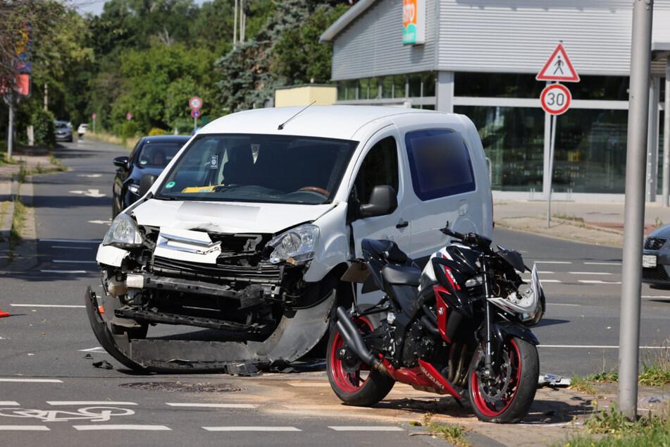 Der Citroën hatte dem Motorrad am Sonntagnachmittag im Norden Leipzigs die Vorfahrt genommen.