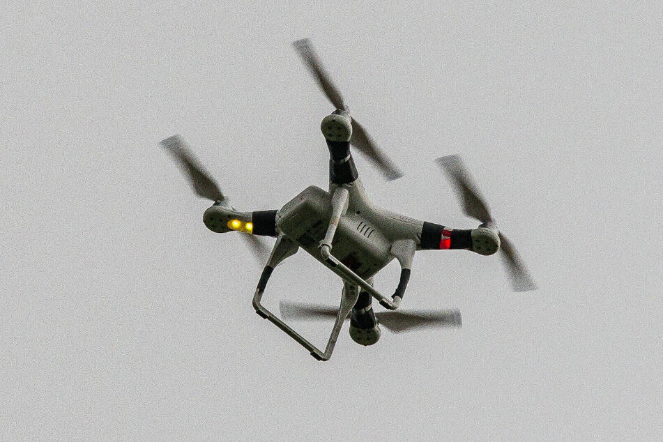 A drone, pictured here, was used in tests for Dropster, a new drone combating weapon.