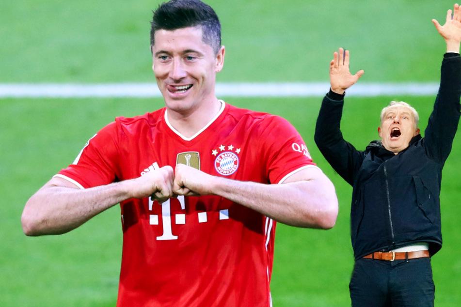 Freiburgs Trainer Christian Streich (55, r.) würde es ungern sehen, wenn Bayern-Stürmer Robert Lewandowski (32, l.) den Rekord von Gerd Müller (75) übertrifft. (Fotomontage)