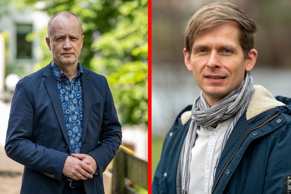 """Mathias Hofmann (55, l.), Vorstand der Kindervereinigung, sieht die """"Verreiser"""" in finanzieller Gefahr. Stadtrat Maik Otto (43, SPD) will eine Lösung für die Förderung von Kinder- und Jugendreisen finden."""