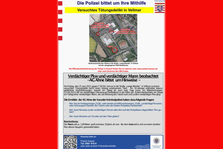Das Bild zeigt das vollständige Fahndungsplakat der Polizei in Nordhessen zu der blutigen Attacke in Vellmar.
