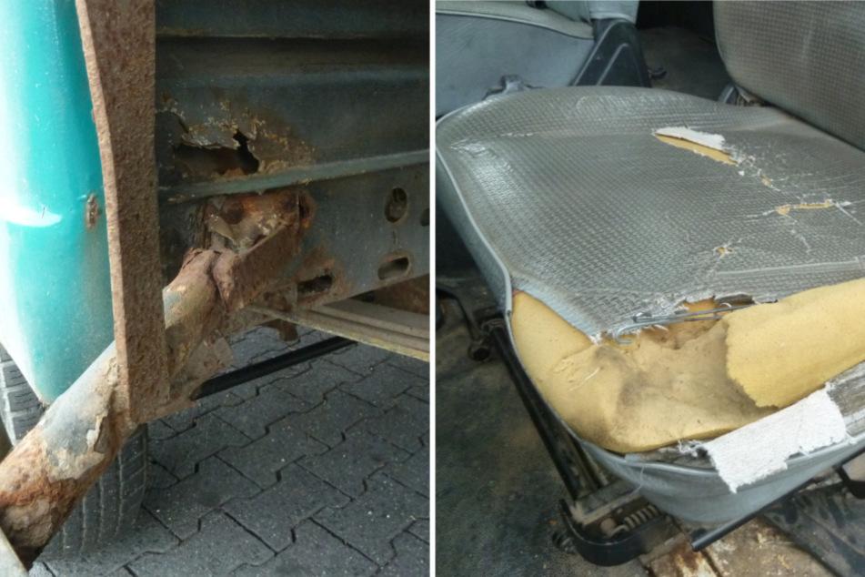 Ein beschädigter Fahrersitz und durchgerostete Stellen waren nur zwei der vielen festgestellten Mängel.