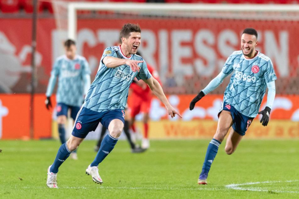 Klaas-Jan Huntelaar (37, l.) war für Ajax Amsterdam der große Matchwinner am Donnerstagabend gegen den FC Twente Enschede.