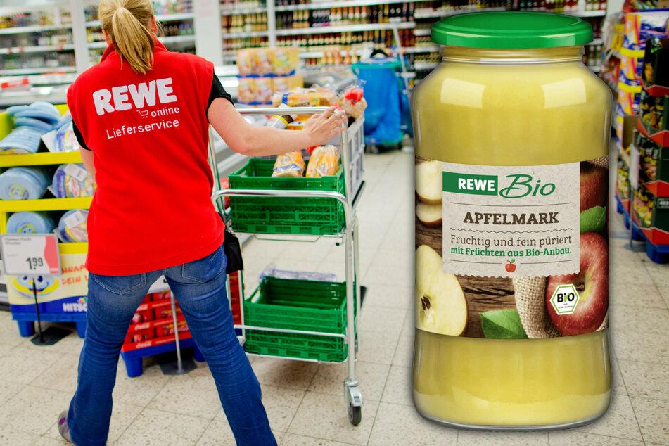 Das betroffene Bio-Apfelmark von REWE wurde bundesweit ausgeliefert, es sind also Märkte in allen Bundesländern betroffen. (Bildmontage)