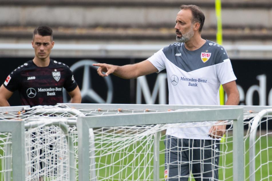 Wieder im Dress des VfB: Erik Thommy (25). Rechts neben ihm sein neuer Trainer Pellegrino Matarazzo (42).