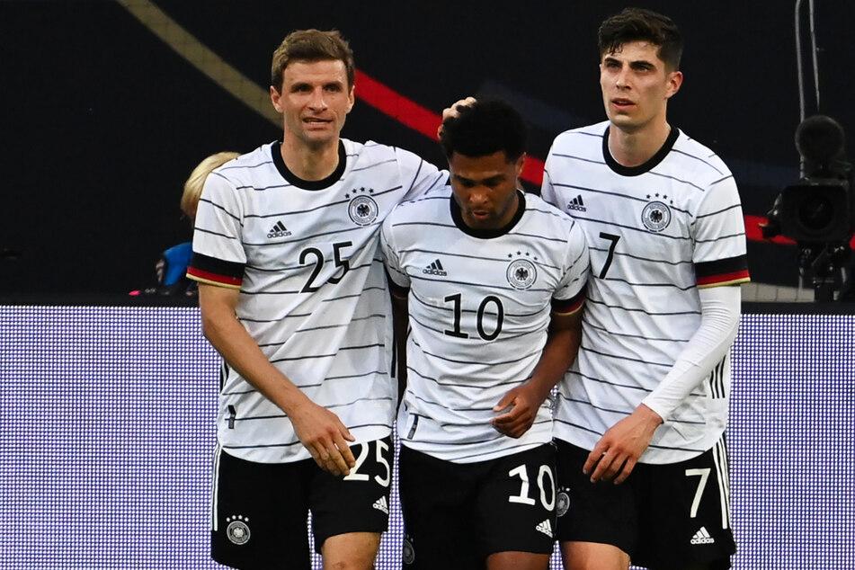 Thomas Müller (l.), Serge Gnabry (M.) und Kai Havertz trafen allesamt für Deutschland.
