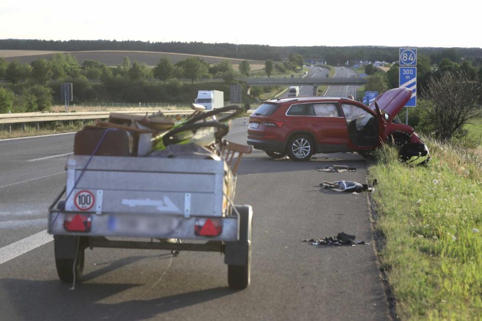 War dieser Anhänger Auslöser des Unfalls, weil er eventuell ausbrach?