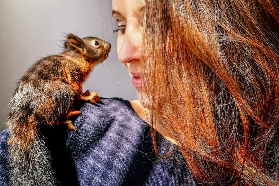 Wie putzig ist das denn!? Die ehemalige Miss Sachsen mit einem zutraulichen Hörnchen.