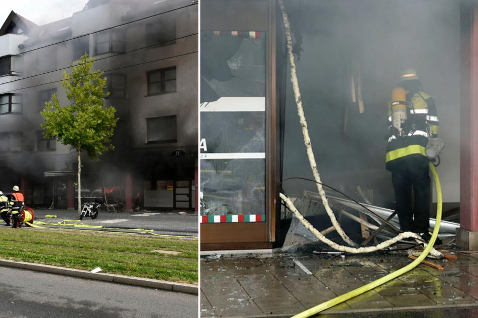 Explosion in München: Laden brennt völlig aus