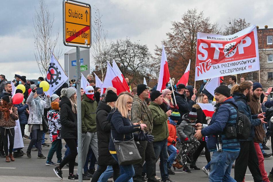 Im November 2020 fand eine Demonstration gegen Corona-Maßnahmen in Frankfurt (Oder) statt.