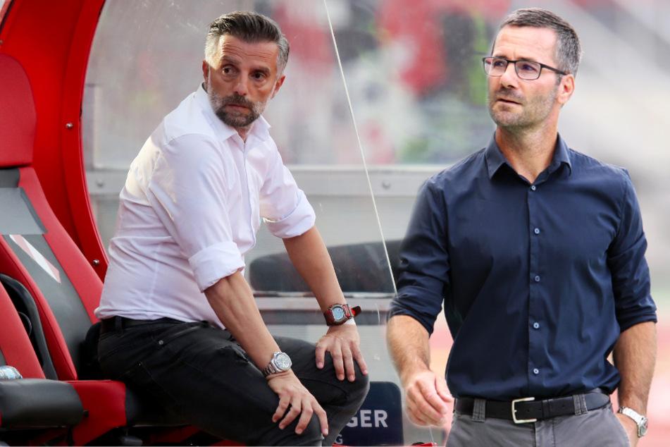 FCI-Coach Tomas Oral (l.) muss mit seiner Mannschaft einen 0:2-Rückstand aufholen. Nürnbergs Interimstrainer Michael Wiesinger warnt vor dem Gegner.