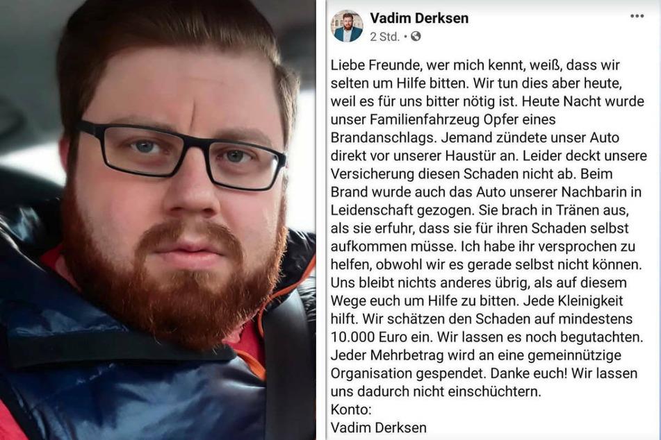 Der Mahlsdorfer AfD-Kandidat Vadim Derksen (33) hat bei Instagram einen Spendenaufruf gestartet, weil seine Versicherung den entstandenen Schaden nicht abdeckt.