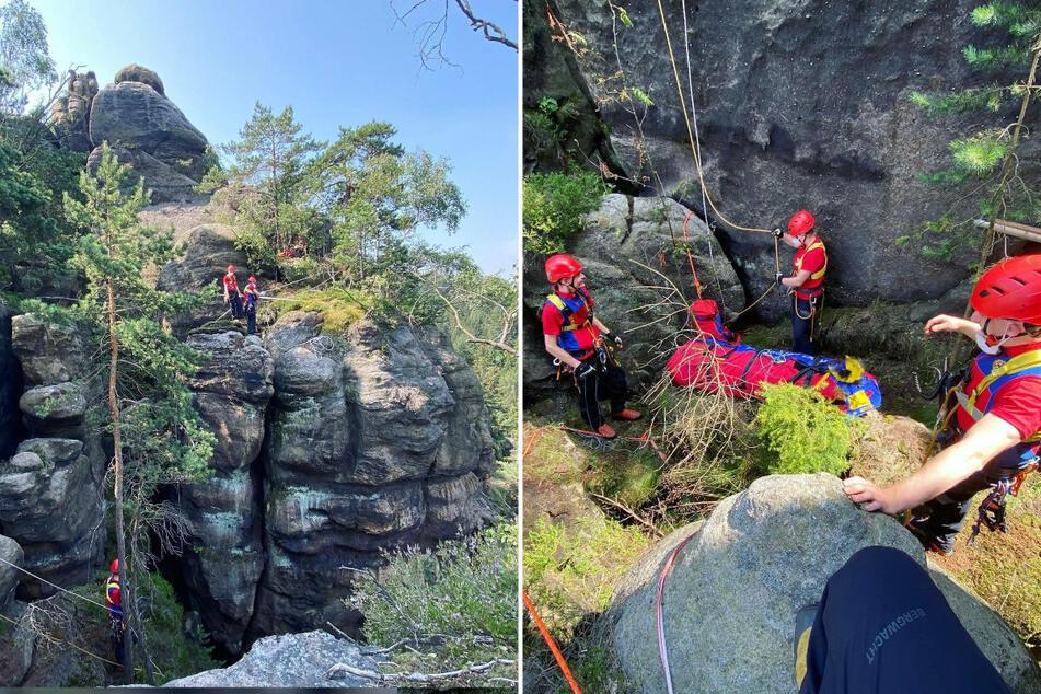 Rettungskräfte der Bergwacht bargen die menschlichen Überreste aus der Felsspalte im Zittauer Gebirge.