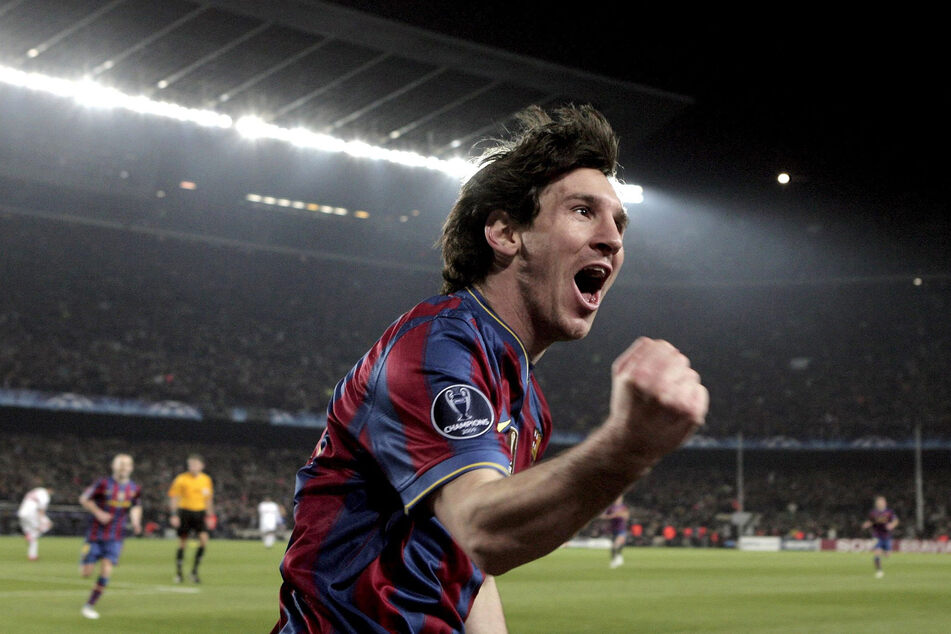 Messi made his debut in 2004. He celebrates scoring a Champions League goal against VfB Stuttgart in 2010.