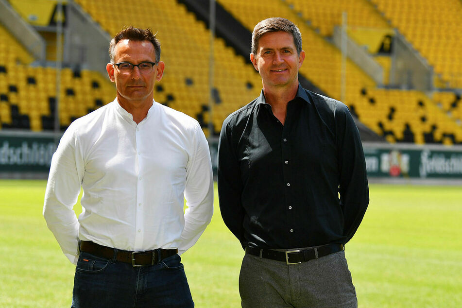 Dynamos kaufmännischer Geschäftsführer Michael Born (l.) und Sportgeschäftsführer Ralf Becker.