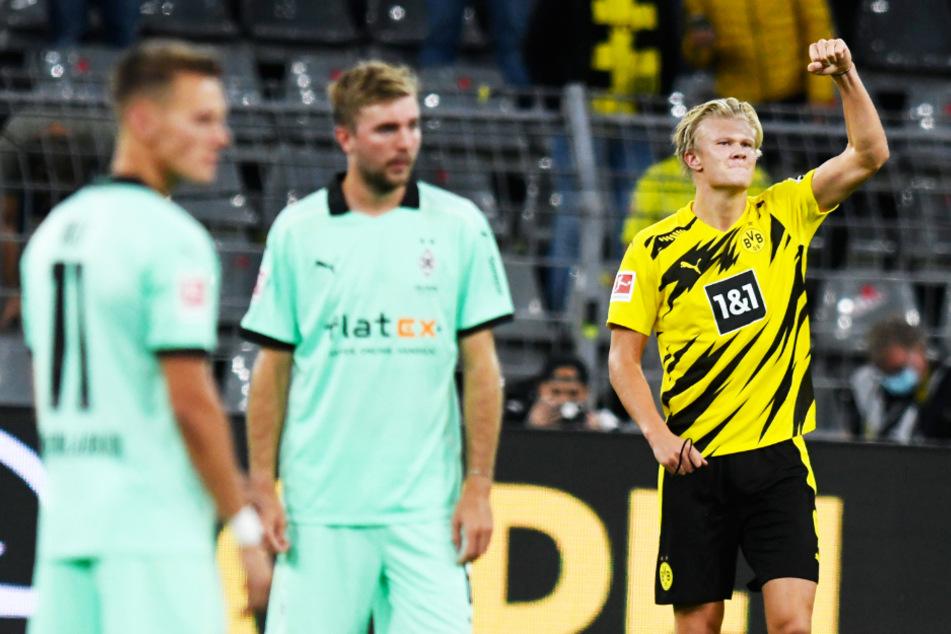 Erling Haaland durfte gleich zweimal jubeln. Der BVB-Mittelstürmer erzielte einen Doppelpack für Dortmund gegen Mönchengladbach.