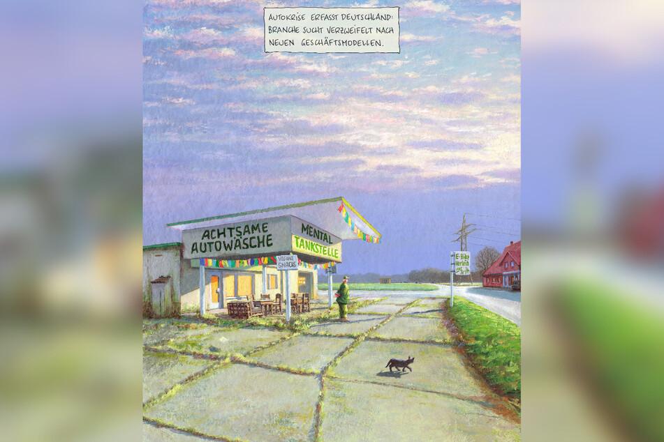 Die Siegerkarikatur des Künstlers Wolf-Rüdiger Marunde befasst sich mit der Autokrise.